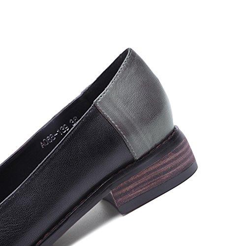 Mona Flygande Kvinnor Läder Slip-on Dagdrivare Skor För Kvinnor Handgjorda Original Dam Lägenheter Skor Gråsvart