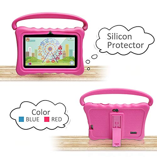 Tablet Case For Kids 7 Inch Kids Tablet Cases For Shock Proof Protective With Portable Convertible Handle Light Weight Rose Red