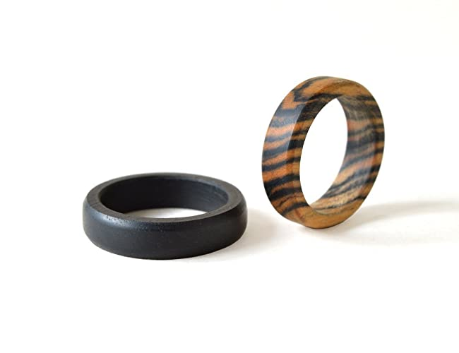 ebony ring set wood wedding rings wood rings set wood wedding bands - Wedding Rings Amazon
