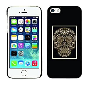Shell-Star Arte & diseño plástico duro Fundas Cover Cubre Hard Case Cover para Apple iPhone 5 / iPhone 5S ( Gold Skull Black Poster Bling Floral )