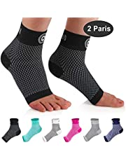 CAMBIVO Ankle Support Brace, Plantar Fasciitis Socks Sleeve, Compression Socks for Ankle Sprain, Ideal Foot Sleeve for Injury Recovery, Joint Pain, Eases Swelling, Heel Spurs, Achilles Tendon 2 Pairs