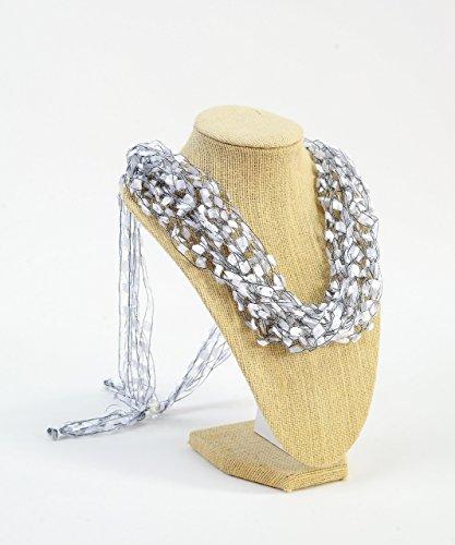 CROCHETLACES Adjustable LIGHTWEIGHT Crochet Italian Yarn Necklace Scarf- - Scarf Trellis