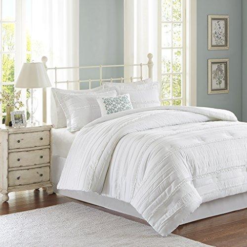 Review Madison Park Celeste King Size Bed Comforter Set - White, Ruffle Stripes – 5 Pieces Bedding Sets – Ultra Soft Microfiber Bedroom Comforters