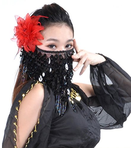 Astage Belly Dance Veil Face Scarf Trible Egyptian Mask Halloween Accessories Black