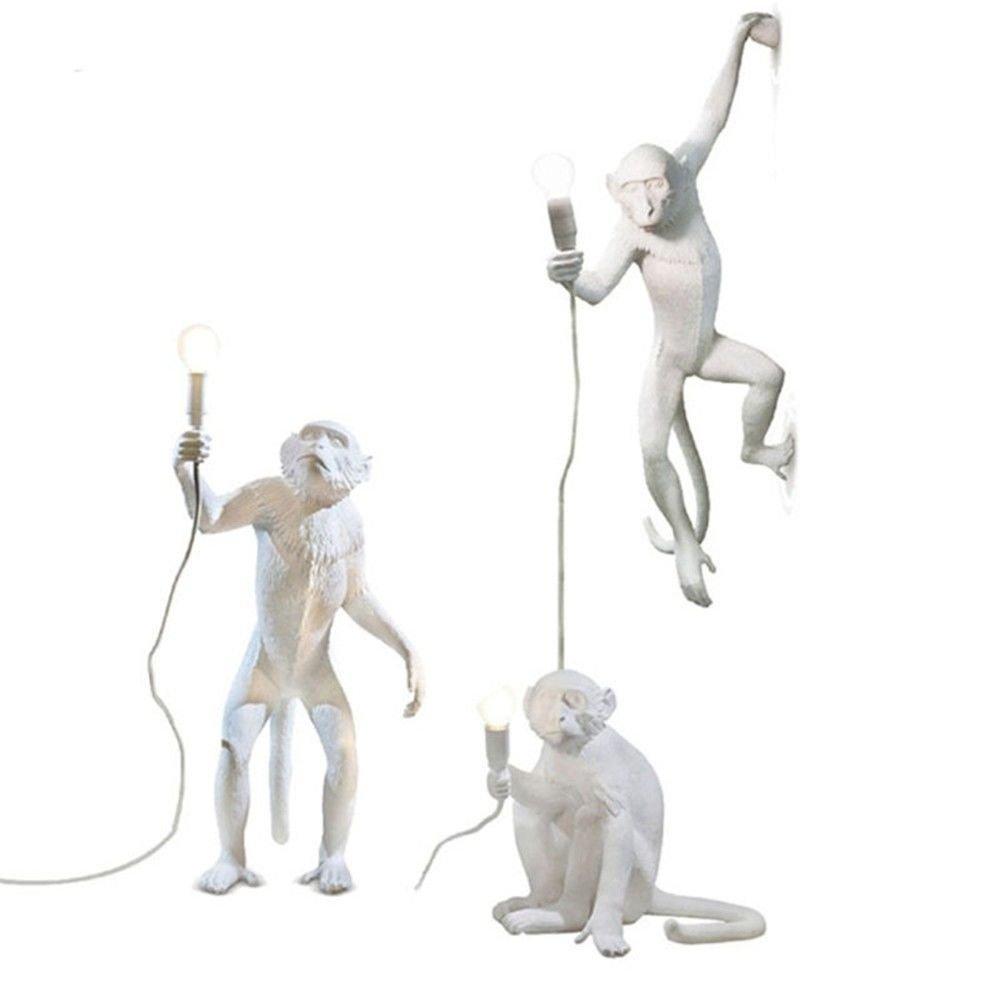 Cwill Modern Creative Design Harz Monkey Loft Vintage Hanf Seil Pendelleuchte für Home Lighting Bar Cafe Retro hängend, Pendelleuchte Tischleuchte