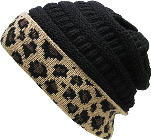 Cable Cuff Beanie (KBETHOS KBW-7022 Blk Soft Stretch Ribbed Cable Knit Beanie Hat Leopard Cuff)
