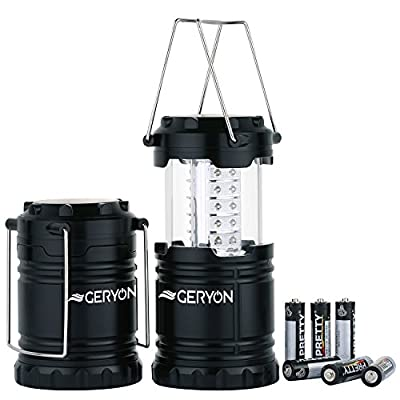 Geryon 2 Pack Portable Outdoor LED Camping Lantern with 6 AA Batteries Fit for Emergency, Tent Light, Backpacking (Black, Collapsible)