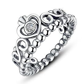 68a3318a6 Presentski Fashion 925 Sterling Silver Crown Princess Diamond Ring Romantic  Lovers Ring