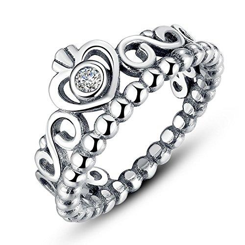 Presentski Fashion 925 Sterling Silver Crown Princess Diamond Ring Romantic Lovers Ring