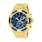 invicta gold watch blue dial - Invicta Men's 'Bolt' Quartz Stainless Steel Casual Watch, Color:Gold-Toned (Model: 25866)