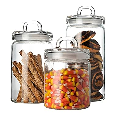 Set of 3 Clear Glass Canister Jars with Tight Lids and Handle for Kitchen Countertop and Bathroom