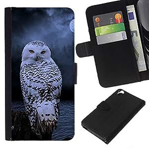 KLONGSHOP // Tirón de la caja Cartera de cuero con ranuras para tarjetas - ave nocturna invierno nieve misteriosa luna - HTC Desire 820 //
