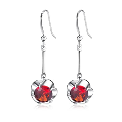 YAZILIND Stunning Silver Plated Round Cut Deep Red Cubic Zirconia CZ Flawless Dangle Drop Earrings P4ZzUsbgQY