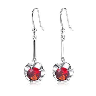 YAZILIND Stunning Silver Plated Round Cut Deep Red Cubic Zirconia CZ Flawless Dangle Drop Earrings jf3wKPa