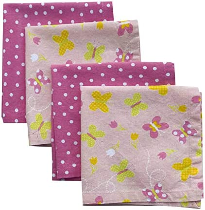 Funkins Reusable Cloth Napkins for Kids Set of 4 Lunch Box Napkins with Name Tag Butterflies 12x12 Soft Cotton Washable Kids Lunch Napkins Single-Ply