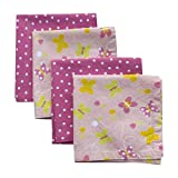 Funkins Reusable Cloth Napkins for Kids | Name Tag | 12''x12'' Soft Cotton Napkins, Set of 4 | Butterflies