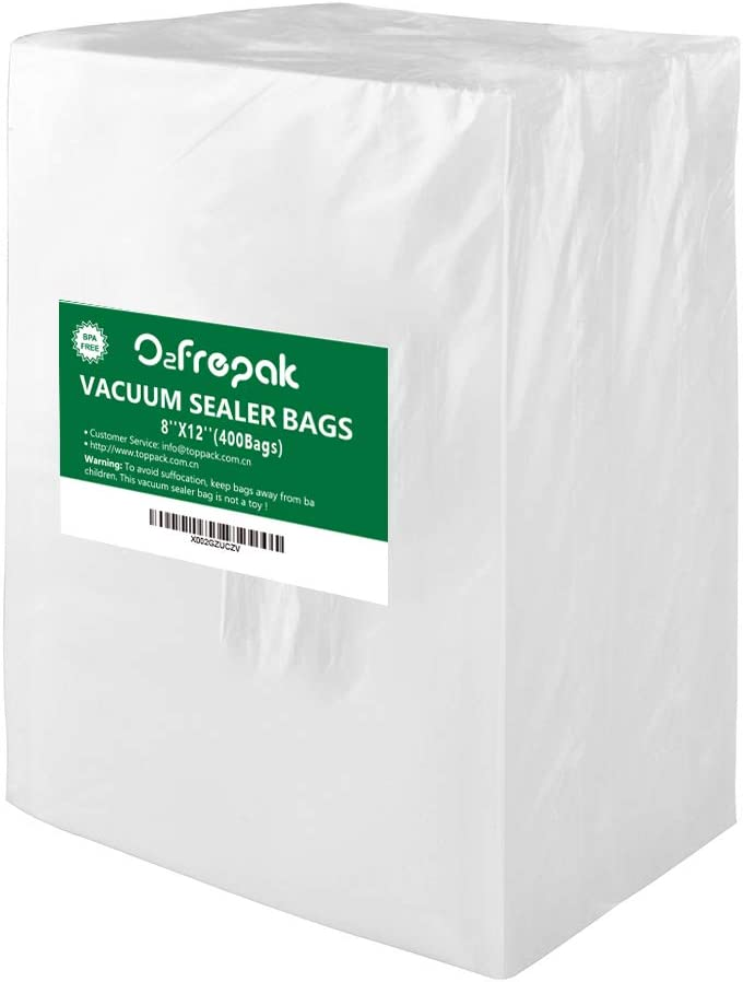 Premium! O2frepak 400 Quart Size 8 x 12 Inch Vacuum Sealer Freezer Bags for Food Saver, BPA Free Sous Vide Seal a Meal Vaccume Food Sealers Heavy Duty Commercial Grade Vacuum Seal PreCut Bag