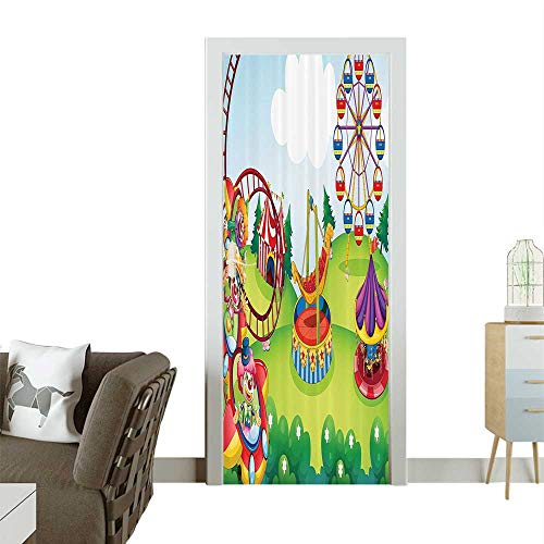 Homesonne Modern Art Door Sticker eCircus and Theme Park Carousel Amusement Excitement Trees Bathroom Access Environmentally Friendly decorationW38.5 x H77 INCH ()