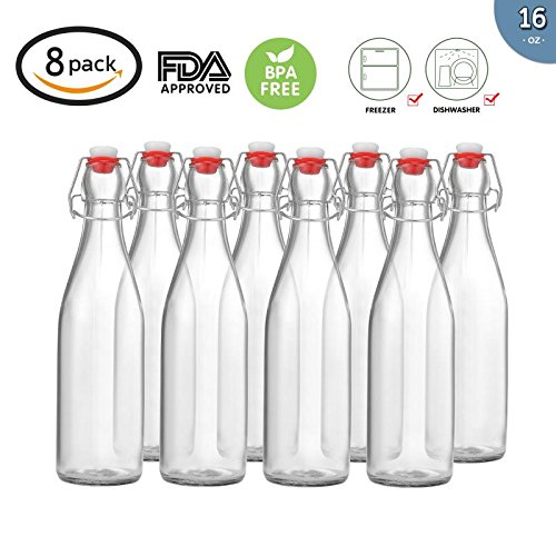Pack of 8 Beer Bottles 16 oz,EASY CAP Glass Bottle with Stopper, Swing Top Bottles for Oil, Vinegar, Beverages, Beer, Water, Kombucha, Kefir, Soda - CLEAR