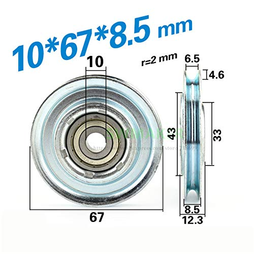 Fevas 5pcs 10678.5mm M8 Wire Rope Wheel/Elevator Door Hanging Wheel, Groove U Slot V Groove Lifting Wheel, 6200 Bearing Pulley - (Bore Diameter: M8x67x8.5mm)