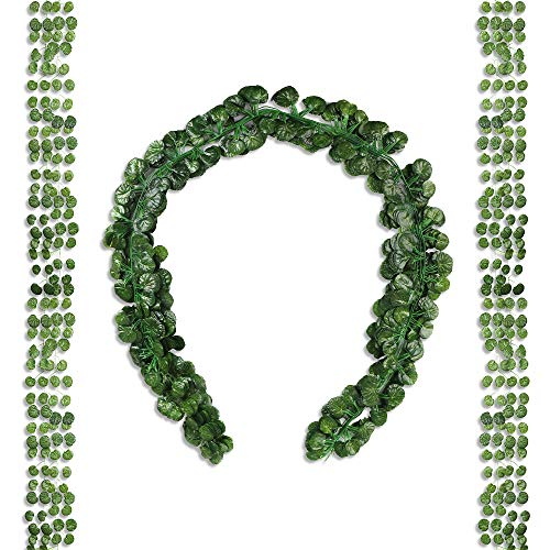 Begonia Leaves - Miss Bloom Artificial Ivy Leaf Garlands 12 Pack 84ft | Fake Leaves Greenery Backdrop Vines | Silk Wall Hanging Plants | Faux Foliage Vine for Home Patio Wedding | Jungle Party Decorations (Begonia)