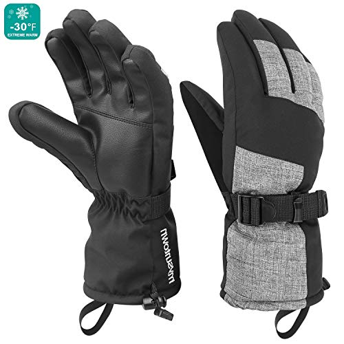 Mysuntown Winter Gloves for Men and Women Waterproof Snow Ski Gloves Cold Weather Outdoor Snowboarding Warm Glove (Black)