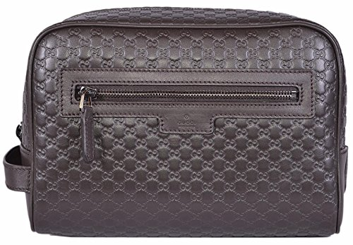 Gucci Men's Leather Micro GG Guccissima Large Toiletry Dopp Bag (Brown) by Gucci
