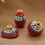 Unravel India Teracotta Red Warli handpainted Decorative Pot(Set of 3)