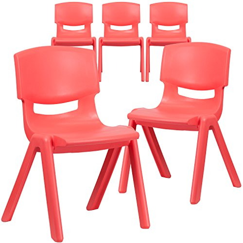 Red Plastic Stack Chair - Flash Furniture 5 Pk. Red Plastic Stackable School Chair with 15.5'' Seat Height