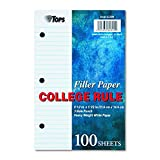TOPS 62304 Filler Paper, 3H, 20 lb, 5 1/2 x 8 1/2, College Rule, White (Pack of 100 Sheets)