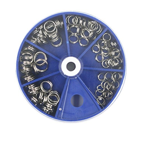- Mimilure 115pcs Stainless Steel Fishing Split Rings Kit Fishing Lures Tackle Set with Round Bead Storage Box,6 Sizes Combo (Blue)