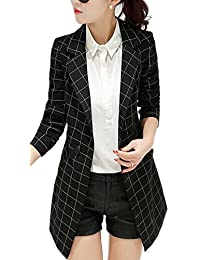Women's Vintage Check Plaid Long Sleeve Casual Long Jacket Blazer