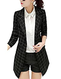 Enlishop Women's Vintage Check Plaid Long Sleeve Casual Long Jacket Blazer