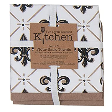 Kay Dee Designs 3-Piece Cotton Flour Sack Towel Set, 26 by 26-Inch, Belle Maison