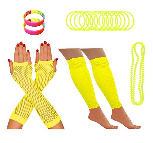 Fishnet Necklace - RED STAR FANCY DRESS 1980S Party Leg Warmers Fishnet Gloves Necklace Wristband One Size Yellow