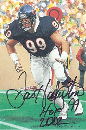Dan Hampton Autographed Chicago Bears Goal Line Art Card Black HOF 11546 - Original NFL Art and Prints