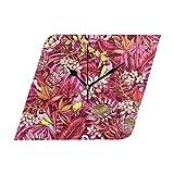 Ladninag Wall Clock Tropical Floral Pattern Silent Non Ticking Decorative Diamond Digital Clocks for Home/Office/School Clock
