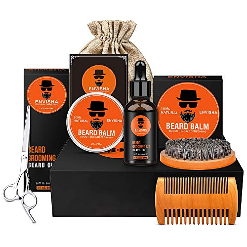 Envisha 8 in 1 Beard Grooming Kit, Ultimate Beard Kit for Men Contains Unscented Beard Oil, Beard Balm, Boar Beard Brush, Wood Beard Comb, Beard Shaping & Mustache Scissors for Trimming and Styling