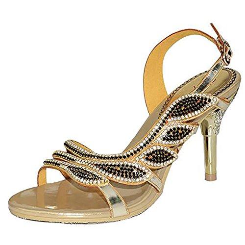 SYYAN Women's Leather Rhinestones Hollow Handmade Pump Dress Sandals Gold Gold dHmQQ1lhN