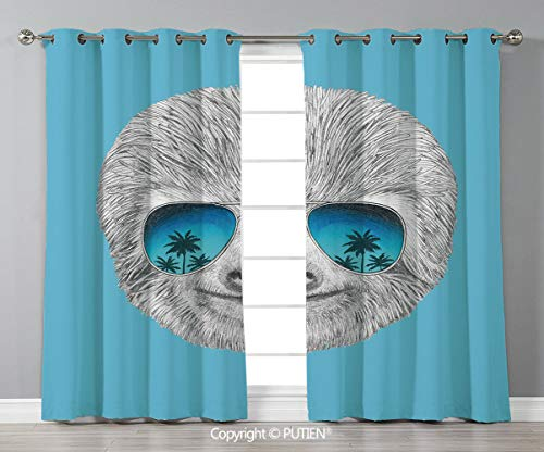 Grommet Blackout Window Curtains Drapes [ Sloth,Portrait of Sloth with Mirror Sunglasses Exotic Palm Trees Hawaiian Beach Hipster,Grey Blue Aqua ] for Living Room Bedroom Dorm Room Classroom Kitchen C - Collection Mirror Oval Beach