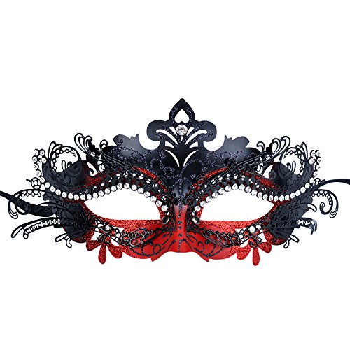 Masquerade Mask Shiny Metal Rhinestone Venetian Pretty Party Evening Prom Mask (Dark red + - Ball Shiny Red
