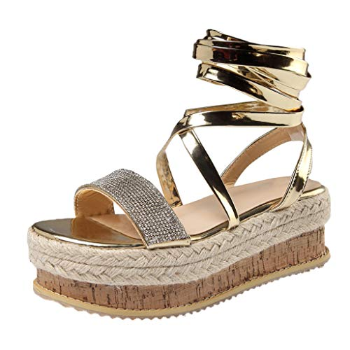 Women Platform Lace-Up Sandals - Ladies Rhinestones Espadrilles Trim Rubber Sole Sandal - Elegant Dress Sandal Shoes (8, Gold)