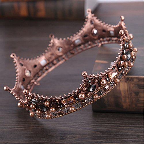 Santfe Royal Full King Crown - Metal Tiara Crown for Men Prom King Party Hats Costume Accessories (Coffee Gold Plated) (Prom Crowns Men)