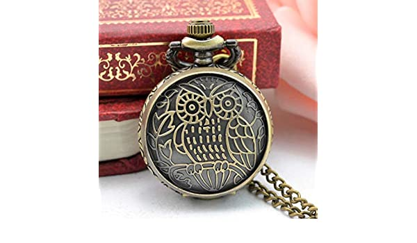 Amazon.com: Pocket & Fob Watches - Relogio Coruja Mini Size Small Dial Owl Bronze Quartz Pocket Watch Necklace Clock Hour Pendant for Women Children Gifts ...