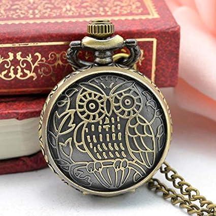 Pocket & Fob Watches - Relogio Coruja Mini Size Small Dial Owl Bronze Quartz Pocket Watch