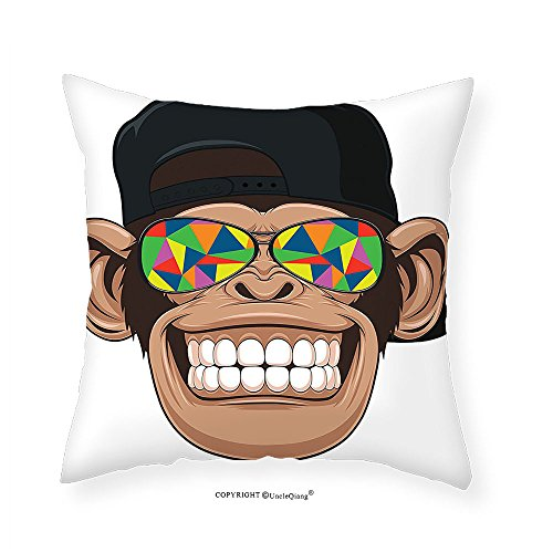 VROSELV Custom Cotton Linen Pillowcase Cartoon Decor Fun Hipster Monkey with Colorful Sunglasses and Hat Rapper Hippie Ape Art Graphic Bedroom Living Room Dorm Decor Multi - Velvet Sunglasses Case Folding