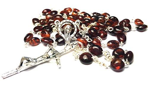 Amber Rosary Genuine Natural Baltic 5mm bead 18 inch long Hail Mary Lord's Prayer Glory Be Mystery Rosary Jesus Mary Santo Rosario Jesucristo Virgen María avemaría oración Ámbar báltico