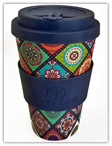 EXOTICA por Happy Earth (Taza de café ecológica reutilizable 450 ml, hecha con fibra de bambú natural orgánica, se puede utilizar como taza de viaje o ...