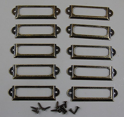 100 Pieces Card Holder Drawer Pull/label holders/Label Frames Card/Label Holder Modern Label Holders - Metal Art w/screws Bronze Tone 60*17mm