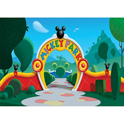 (Mickey Mouse Clubhouse Wall Backdrop 7x5ft Spring Geenery Mickey Park Photo Background Kids Vinyl Photographic Backdrops Happy Birthday Party Banner)